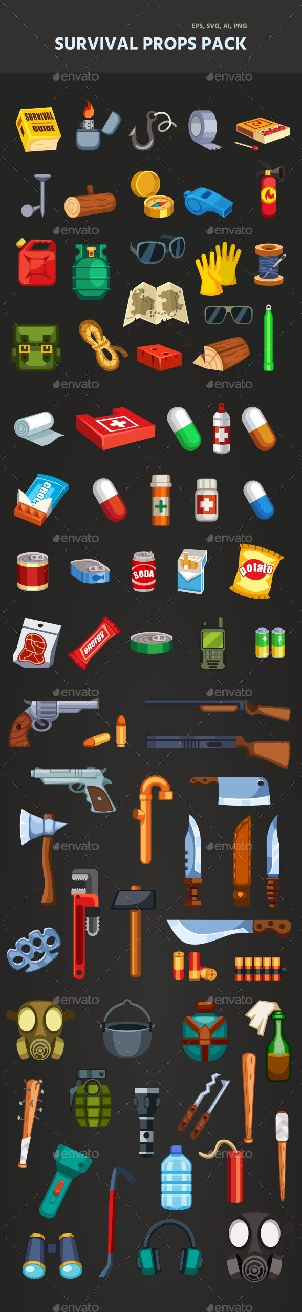 Survival Items Pack - Miscellaneous Game Assets