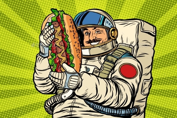 Moustached Astronaut with a Hotdog - Food Objects