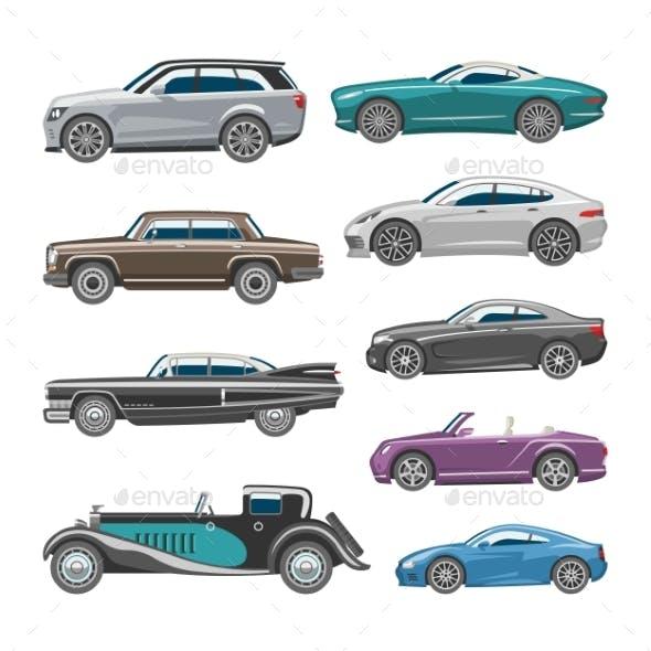 Luxury Car Vector Retro Auto Transport and Vehicle