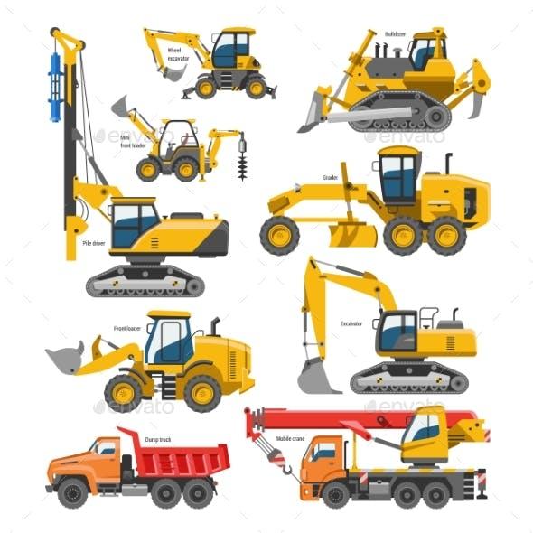 Excavator for Construction Vehicle Vectors