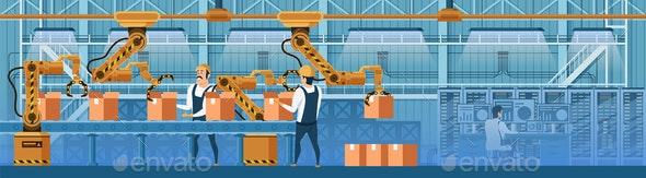 People Working with Robots on Conveyor Line Vector - Industries Business