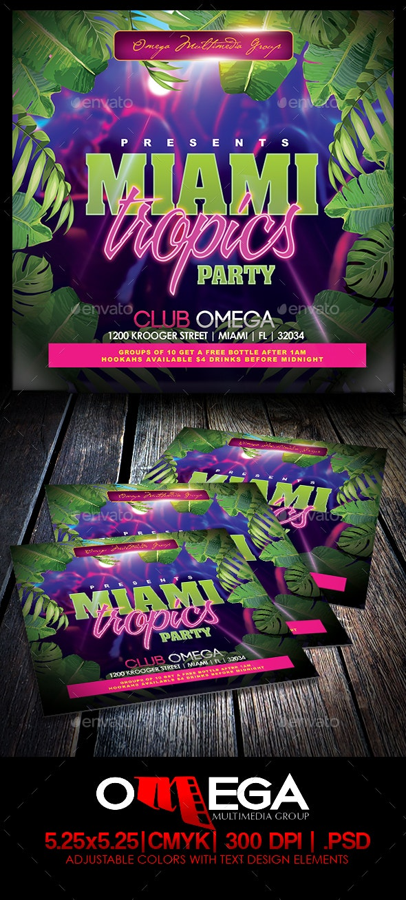 Miami Tropics Party - Events Flyers