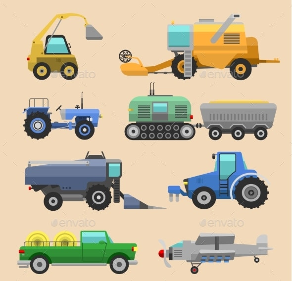 Agricultural Vehicles Harvester Vector Tractor - Man-made Objects Objects