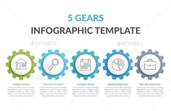Infographic Template with 5 Gears - Infographics