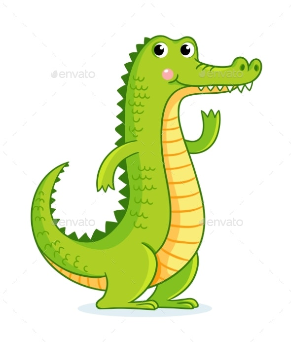 Crocodile on White Background in Cartoon Style - Animals Characters