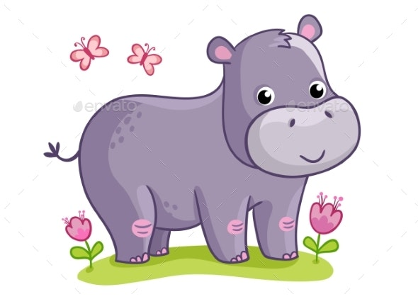 Hippo Standing in the Meadow with Flowers. - Animals Characters