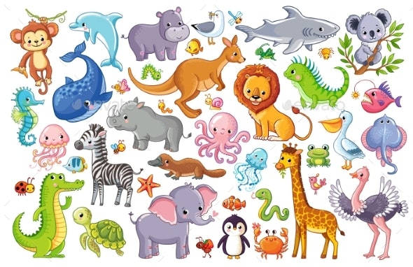 Vector Set with Animals. - Animals Characters