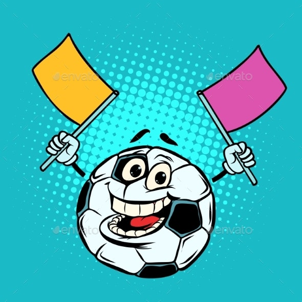 Fan with Flags. Football Soccer Ball. Funny - Man-made Objects Objects
