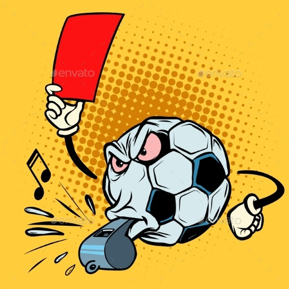 Red Card Referee Whistle. Football Soccer Ball - Man-made Objects Objects