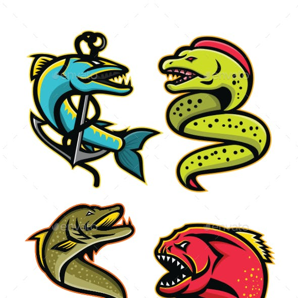 Ferocious Fish Sports Mascot Collection
