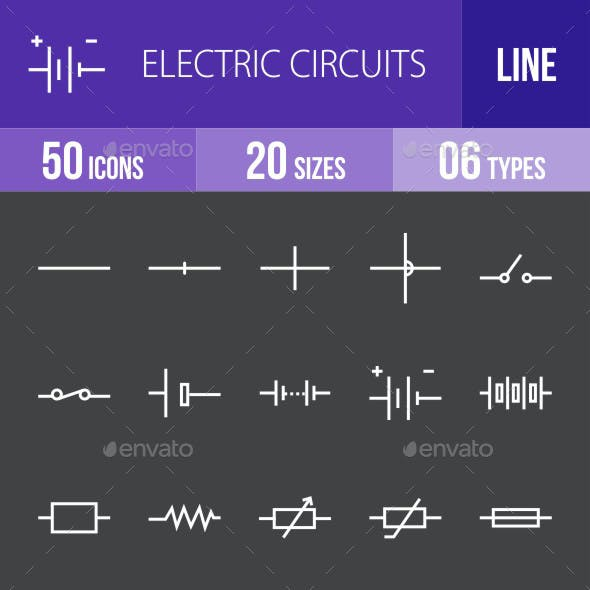 Electric Circuits Line Inverted Icons
