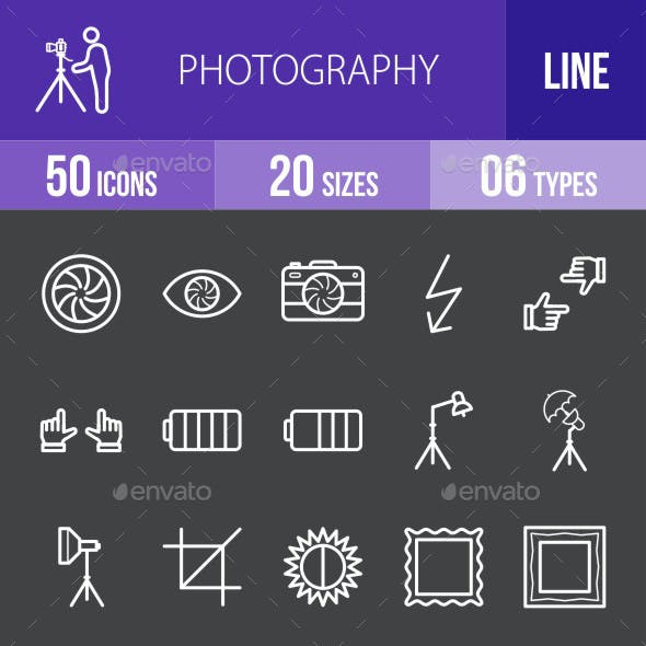 Photography Line Inverted Icons