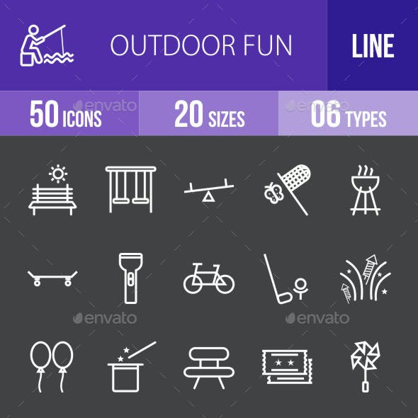 Outdoor Fun Line Inverted Icons