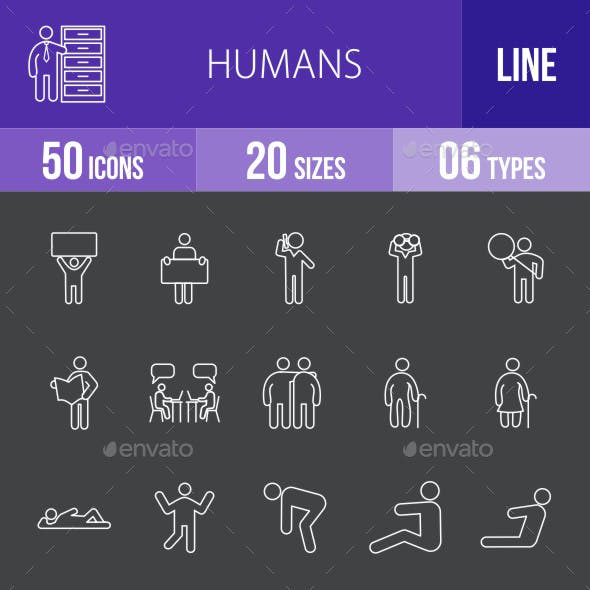 Humans Line Inverted Icons