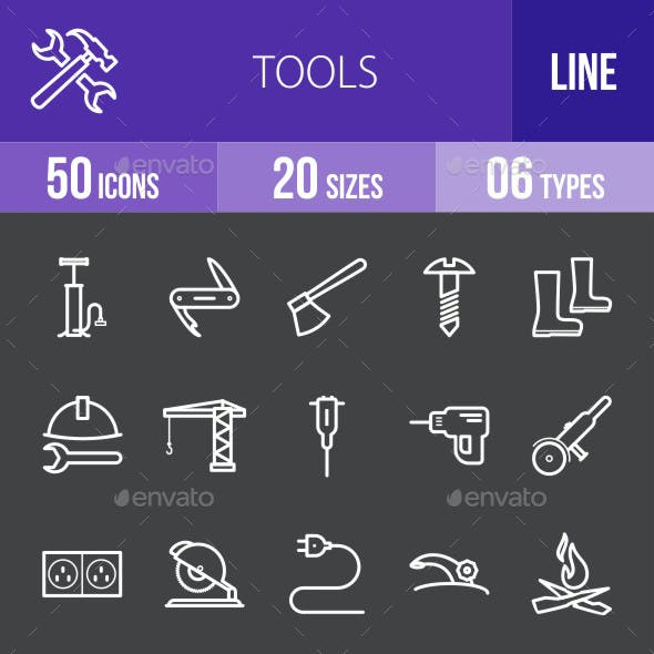 Tools Line Inverted Icons
