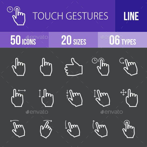 Touch Gestures Line Inverted Icons