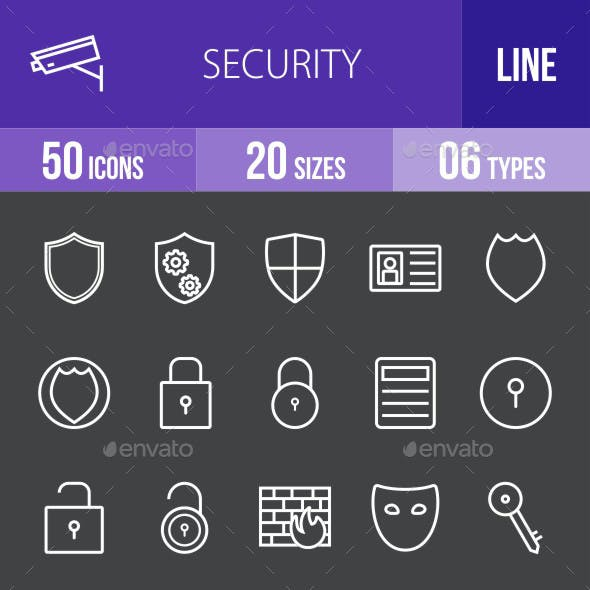 Security Line Inverted Icons