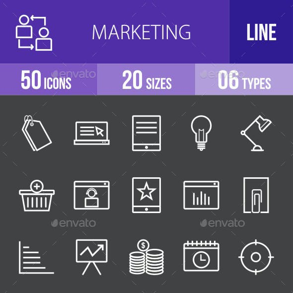 Marketing Line Inverted Icons