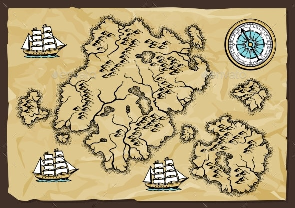 Background with Old Nautical Map - Travel Conceptual