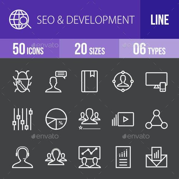 SEO & Development Services Line Inverted Icons