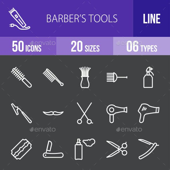 Barber's Tools Line Inverted Icons