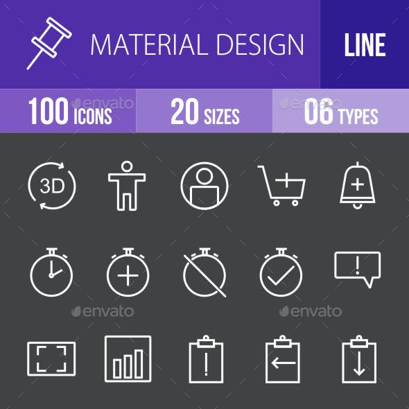 Material Design Line Inverted Icons