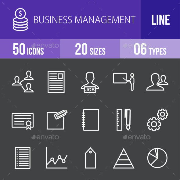 Business Management Line Inverted Icons