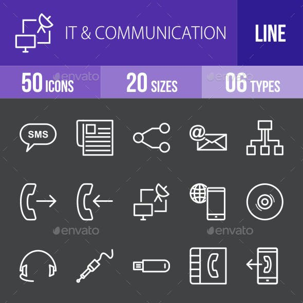 IT & Communication Line Inverted Icons