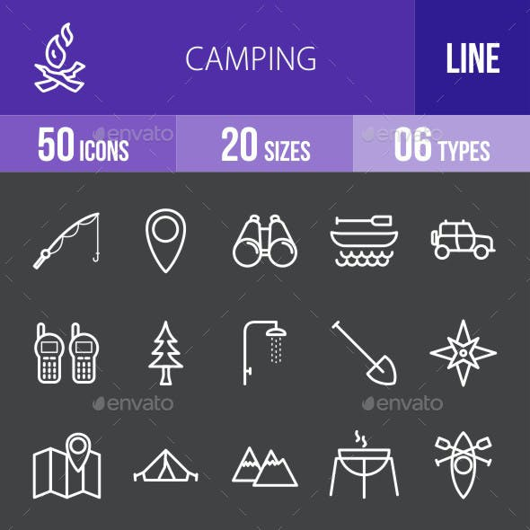 Camping Line Inverted Icons