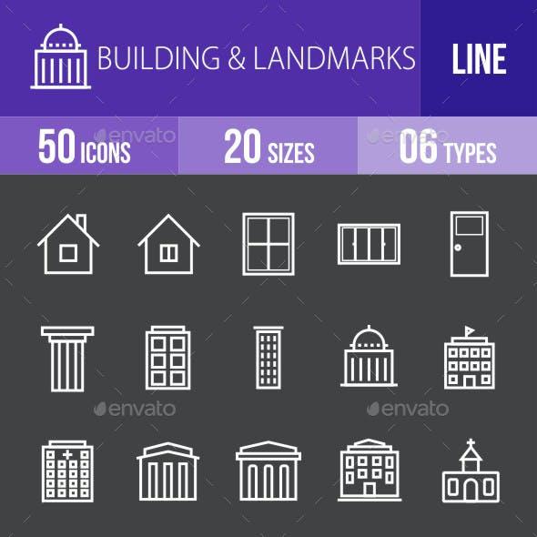 Buildings & Landmarks Line Inverted Icons