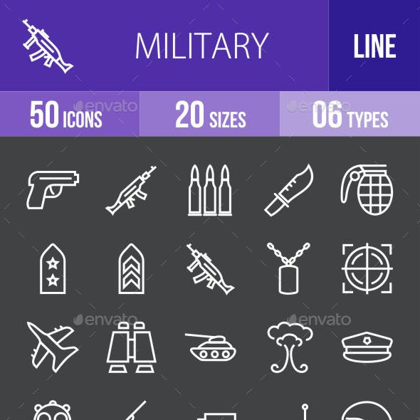 Military Line Inverted Icons