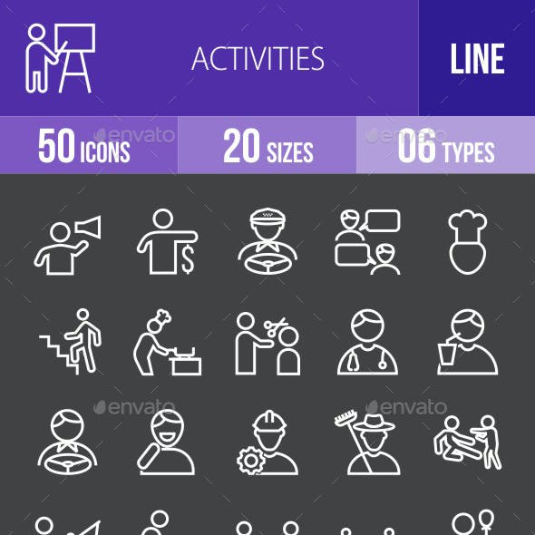Activities Line Inverted Icons