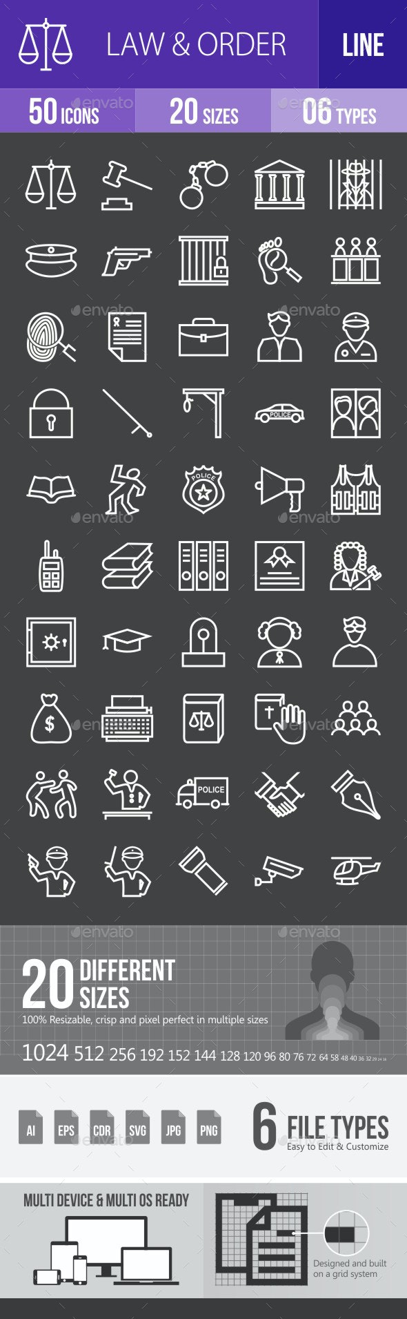 Law & Order Line Inverted Icons - Icons