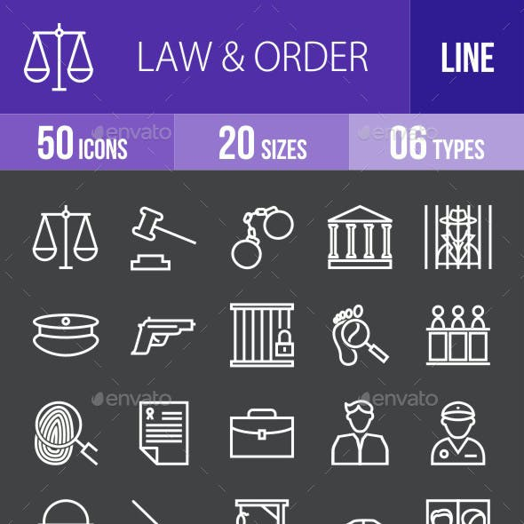 Law & Order Line Inverted Icons