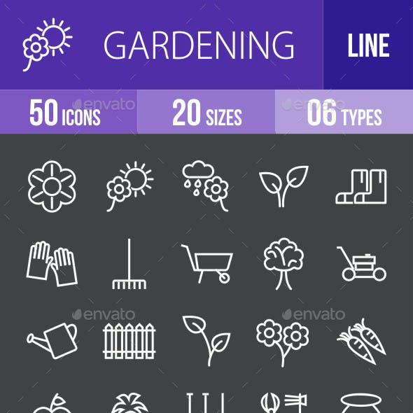 Gardening Line Inverted Icons