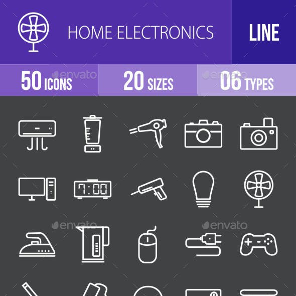 Home Electronics Line Inverted Icons