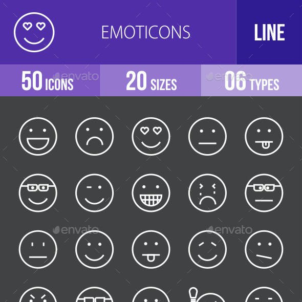 Emoticons Line Inverted Icons
