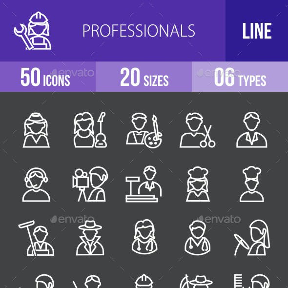Professionals Line Inverted Icons