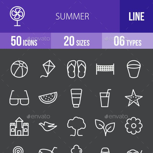 Summer Line Inverted Icons