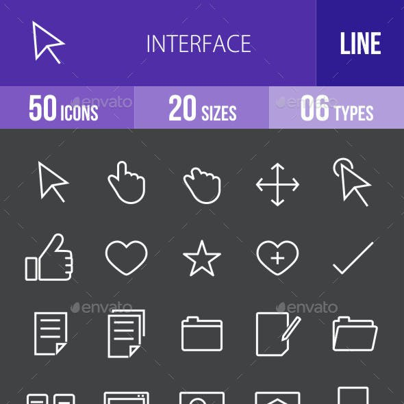 Interface Line Inverted Icons