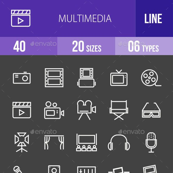 Multimedia Line Inverted Icons