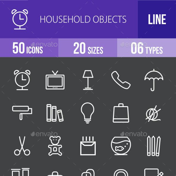Household Objects Line Inverted Icons