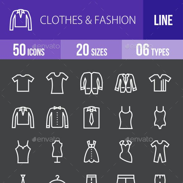 Clothes & Fashion Line Inverted Icons