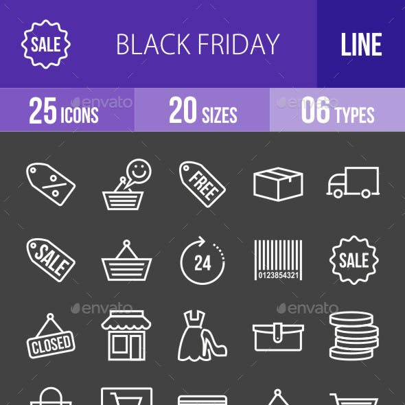 Black Friday Line Inverted Icons