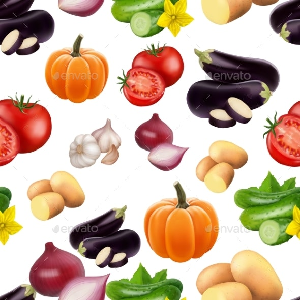 Seamless Pattern with Vegetables - Food Objects