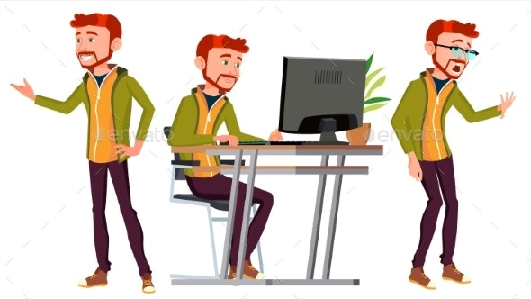 Businessman Vector. Man Poses - People Characters