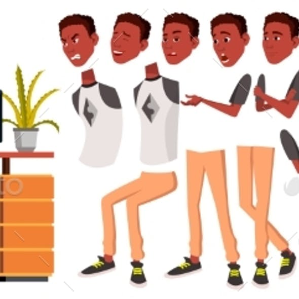 Business Person Vector. Black. African. Male Animated