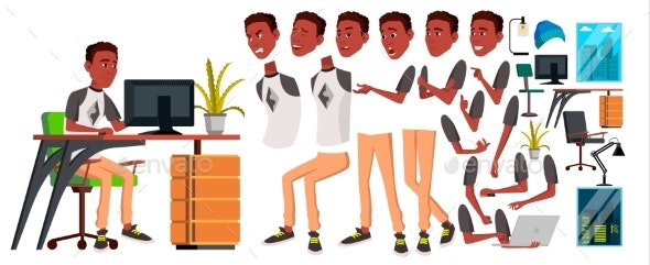 Business Person Vector. Black. African. Male Animated - People Characters