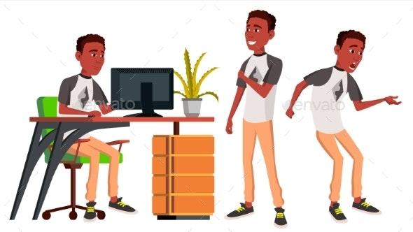 Businessman Office Worker Vector. Black. African. - People Characters