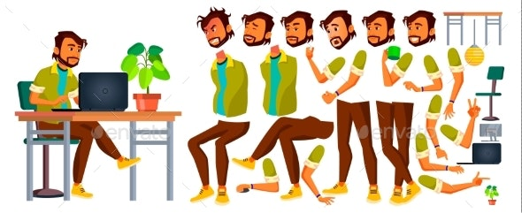 Businessman Vector. Indian Man. Animation - People Characters